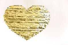 DIY Gold Heart Pinata