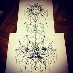 Lotus sun beads tattoo backpiece design