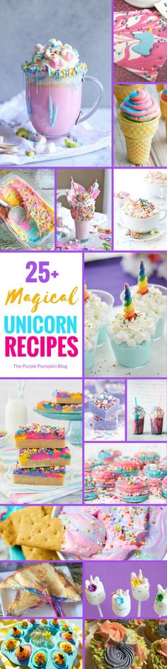 25+ Unicorn Recipes! Is there anything more magical than unicorn themed food? I don't think so! This roundup of unicorn recipes is a great place to start if you're throwing a unicorn themed party, or if you just want to make meals and treats all that more enchanting! Includes cupcakes, ice cream, fudge, beverages, and even grilled cheese!!