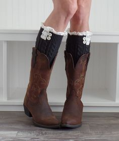 Knit Boot Cuffs, Boot Toppers,Uptown Girl Co. These are knit lace boot cuffs with two buttons. Perfect fit for women and teenagers Charcoal.