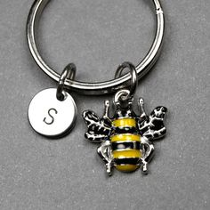 Bee keychain bee charm bumble bee by chrysdesignsjewelry on Etsy