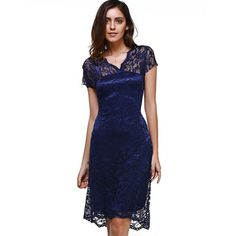 Sweet V-Neck Short Sleeve Women's Lace Dress #jewelry, #women, #men, #hats, #watches, #belts, #fashion