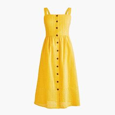 Classic button-front midi sundress in contrast embroidered eyelet : Women (Not So) Mellow Yellow Outfit Sundress Outfit, Yellow Sundress, Midi Sundress, Dress Outfits, Casual Dresses, Summer Dresses, Fall Outfits, Queen, Mellow Yellow
