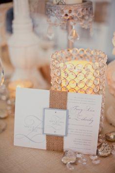 Burlap wedding invite