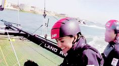 GoPro footage of the Duchess of Cambridge sailing with Ben Ainslie's team.