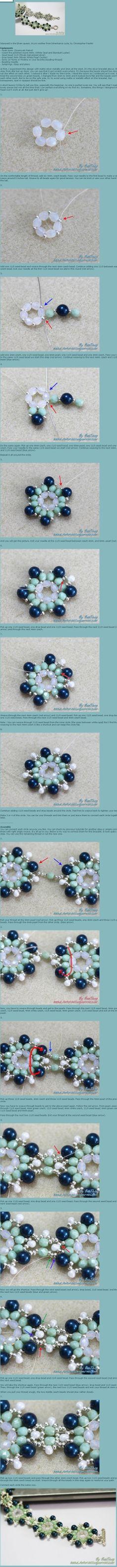 flower bracelet tutorial by Riamerc