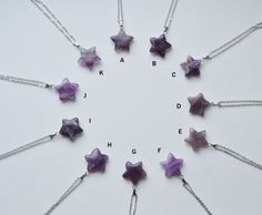 Amethyst star gemstone necklace stone natural by FortunateFreaks