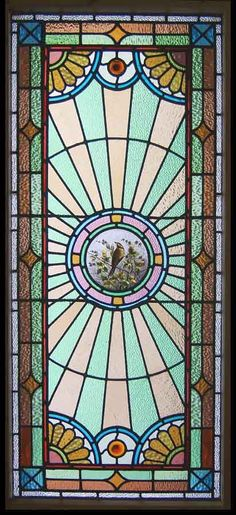 Antique Stained Glass Windows   CIRCA 1890 Stain Glass Leaded Window Antique