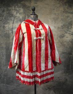 c.1850 Skate Cape, red & white striped plush (velvet)