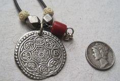 Tibetan Coin Pendant 1800s Necklace.