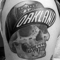 40 Oakland Raiders Tattoos For Men - Football Ink Design Ideas Sport Tattoos, Cute Tattoos, Tattoos For Guys, Skull Hand Tattoo, Arm Tattoo, Sleeve Tattoos, Oakland Raiders Hat, Raiders Football, Raiders Girl