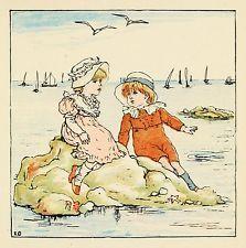At the seaside kate greenaway vintage reproduction imprimer brillant papier photo 1880