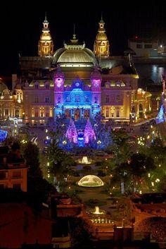 Monte Carlo Casino at night, Monaco.