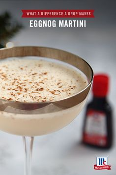 This creative martini recipe will be the hit of all your holiday parties. The nostalgic flavor of eggnog gets a distinctive adult boost with McCormick Rum Extract. Sprinkle some nutmeg on top for garnish and serve at this year's Christmas party. Eggnog Martini, Eggnog Cocktail, Cocktail Drinks, Martinis, Cocktail Ideas, Party Drinks, Fun Drinks, Yummy Drinks, Yummy Food