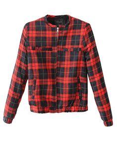 Round Neckline Long Sleeves Plaid Jacket
