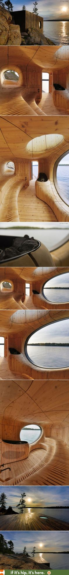 The Grotto Sauna is a prefab sauna designed and fabricated using the latest 3D technology. | http://www.ifitshipitshere.com/grotto-sauna-amporphic-prefab-edge-private-island/