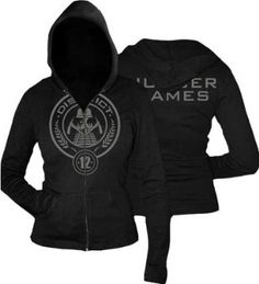 Amazon.com: The Hunger Games District 12 Zip Up Hoodie Hooded Sweatshirt, Juniors Sizing: Clothing