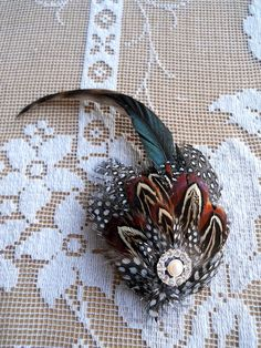 Handmade Pheasant Feather Brooch Pin with by TallTalesVintage, $25.00