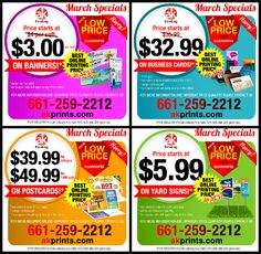 AK's March Special Offer! Buy MORE for LESS!!! Avail of this special offer and get the best prices for your printing products! It's the price to beat and still kicking LOW! Call us now @ 661-259-2212 or visit akprints.com for more details and different pricing quantity!
