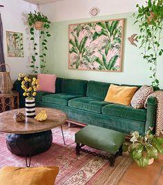 Boho Living Room, Home And Living, Living Room Decor, Living Room Inspiration, Home Decor Inspiration, Decor Ideas, Sala Tropical, Tropical Decor, Interior Desing
