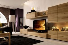 media center furniture   Accessories And Furniture, Light Wood Media Center With Wall Unit ...