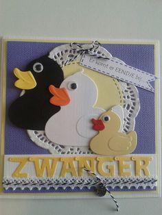 Zwangerschapskaart met eendjes en kantje... Baby Cards, Homemade Cards, Card Ideas, Scrapbooking, Bullet Journal, Kids Rugs, Tie, Christmas Ornaments, Holiday Decor