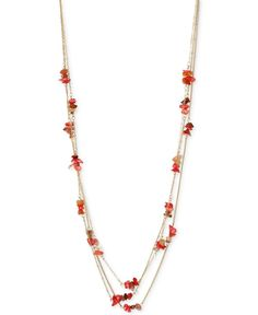 Kenneth Cole Coral Canyon Gold-Tone Red Chip Bead Long Necklace