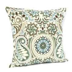 Blue Throw Pillow Cover Paisley Floral Brown Ivory Aqua