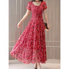 Round Neck Floral Printed Maxi DressDark Blue / s One Piece Dress, The Dress, Cute Dresses, Summer Dresses, Maxi Dresses, Floral Chiffon Maxi Dress, Dress Silhouette, Swing Dress, Dress Brands
