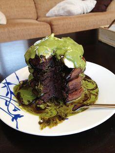Chocolate Chunk Pancakes with Matcha Sauce   clark pharm