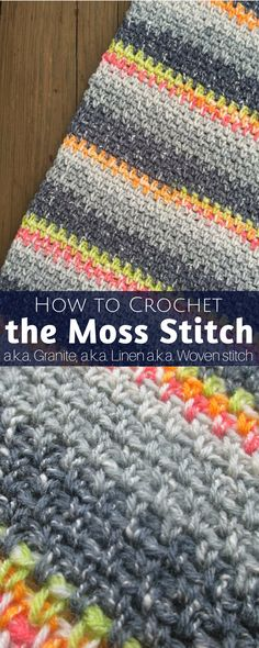 How to Crochet the Moss Stitch (Written/Video Tutorial) How to crochet the Moss Stitch a. the Granite Stitch a. the Linen Stitch a. the Woven Stitch - a blend of two of the easiest crochet stitches! Crochet Afghans, Easy Crochet Stitches, Easy Crochet Blanket, Crochet For Beginners Blanket, Crochet Blanket Patterns, Stitch Patterns, Moss Stich Crochet, Linen Stitch Crochet, Afghan Patterns