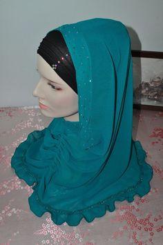 New Design 1Set Slipon Princess Style Hand-Beaded Hijab Scarf Sarong Sea Green  #SilkStory #SlipOnScarfSarongPlusSliponTube