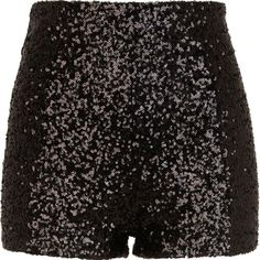 River Island Black sequin shorts ($20) ❤ liked on Polyvore featuring shorts, bottoms, pants, short, high waisted sequin shorts, disco shorts, high rise shorts, high-rise shorts and sequin shorts