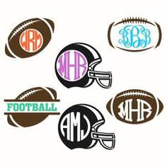 Football Monogram Pack Cuttable Design Cut File. Vector, Clipart, Digital Scrapbooking Download, Available in JPEG, PDF, EPS, DXF and SVG. Works with Cricut, Design Space, Sure Cuts A Lot, Make the Cut!, Inkscape, CorelDraw, Adobe Illustrator, Silhouette Cameo, Brother ScanNCut and other compatible software.