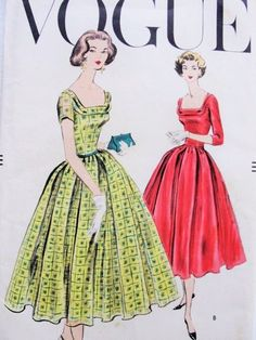 1950s Lovely Dinner Party Cocktail Evening Dress Pattern Vogue 9060 Inverted Pleats Full Skirt Unique Folded Wide Low Neckline Bust 34 Vintage Sewing Pattern FACTORY FOLDED