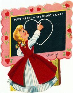 Vintage Valentine Card Pretty Teacher Chalkboard Chalk