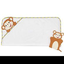 Fisher-Price 2-Pack Rainforest Monkey Hooded Towel and Wash Mitt Gift Set