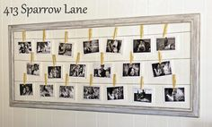 empty flea market frame strung with string or wire to clip photos