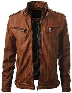 IDARBI Mens Leather Look Motorcycle Rider Bomber Jacket ** Click image to review more details.
