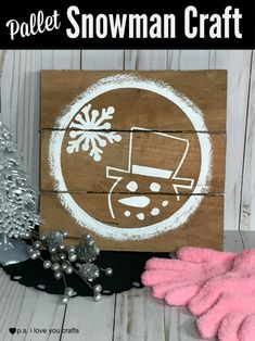 DIY Pallet Crafts are so trendy right now, and I'm jumping on the bandwagon. Since the supplies for the base are free with the exception of some manual labor, these are also budget friendly for decoration and for gifts. This Pallet Snowman Craft would also be a great project to sell at Craft Fairs. …#christmaspallet #palletcraft #snowmancraft cricutmaker
