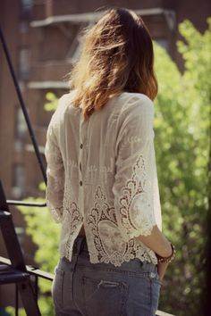 Chiffon and lace blouse with scalloped edges and back-button detail