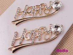 1 Pc Bling Crystal Alloy Happy Gem Rhinestone Flat Back Accessories  Kawaii Cabochon DecoDen on Craft Phone Case DIY Deco AA1393