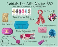 """Initials Inc $20 Gifts"" by kelyn-roswell-nightengale on Polyvore   http://www.myinitials-inc.com/17932/"