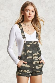 FOREVER 21+ Camo Print Overall Shorts