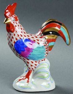 "Herend Hand Painted Porcelain Figurine ""Rooster"" Rust Fishnet Gold Accents."