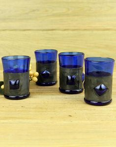 Handmade Cobalt Glass and Metal Shot Glasses Barware One of