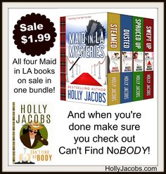 Not only did Can't Find NoBODY just came out, my first cozy mystery series is on sale today!!  (There's a 5th book in the works!) Maid in LA http://amzn.to/2jG84ri