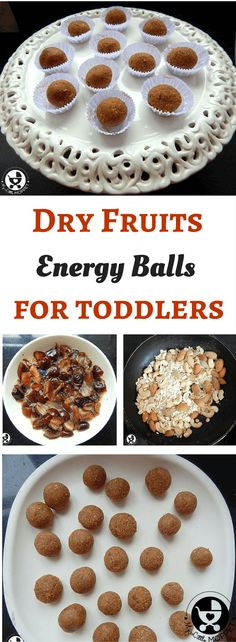 Dry Fruit balls for toddlers, they make great dry fruits finger food recipe. It consist of dates,oats dry fruits like badam and cashew. They also make a good gift for eid. They can be given in lunch box for toddlers and are energy rich finger food recipe School Snacks For Kids, Healthy School Snacks, Healthy Toddler Snacks, Lunch Snacks, Toddler Meals, Healthy Drinks, Lunch Box, Toddler Food, Baby Meals