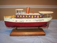 Vintage Ives Tin Toy Wind Up Boat Sally Scout Patrol Clockwork SHIP