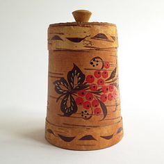 Vintage Birch Bark Conic Container with Lid Soviet door RigaVintage